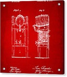 1876 Beer Keg Cooler Patent Artwork Red Acrylic Print