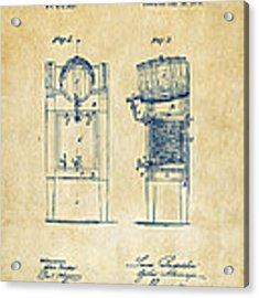 1876 Beer Keg Cooler Patent Artwork - Vintage Acrylic Print