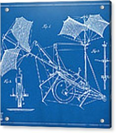 1879 Quinby Aerial Ship Patent Minimal - Blueprint Acrylic Print