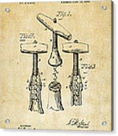 1883 Wine Corckscrew Patent Art - Vintage Black Acrylic Print