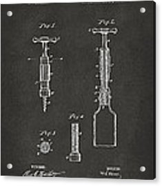 1884 Corkscrew Patent Artwork - Gray Acrylic Print