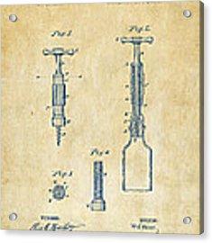 1884 Corkscrew Patent Artwork - Vintage Acrylic Print