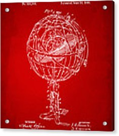 1885 Terrestro Sidereal Sphere Patent Artwork - Red Acrylic Print