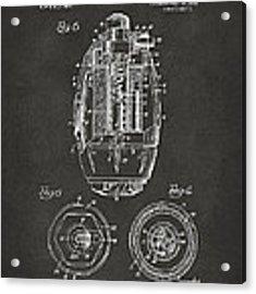 1919 Hand Grenade Patent Artwork - Gray Acrylic Print