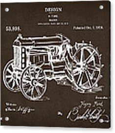 1919 Henry Ford Tractor Patent Espresso Acrylic Print by Nikki Marie Smith