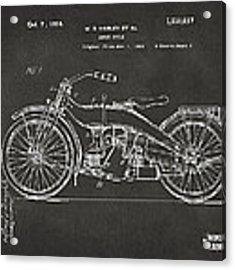 1924 Harley Motorcycle Patent Artwork - Gray Acrylic Print