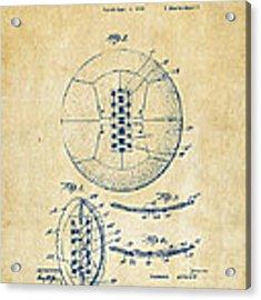 1928 Soccer Ball Lacing Patent Artwork - Vintage Acrylic Print