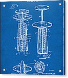 1944 Wine Corkscrew Patent Artwork - Blueprint Acrylic Print