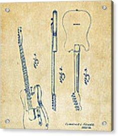 1951 Fender Electric Guitar Patent Artwork - Vintage Acrylic Print