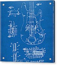 1961 Fender Guitar Patent Artwork - Blueprint Acrylic Print by Nikki Marie Smith