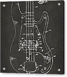 1961 Fender Guitar Patent Minimal - Gray Acrylic Print by Nikki Marie Smith