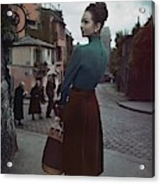 A Model In Paris Acrylic Print by John Rawlings