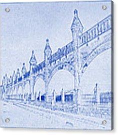 Antwerp Railway Bridge Blueprint Acrylic Print