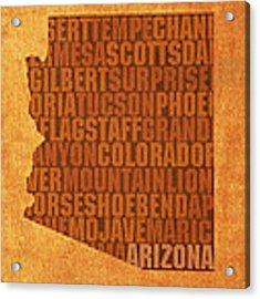 Arizona Word Art State Map On Canvas Acrylic Print by Design Turnpike