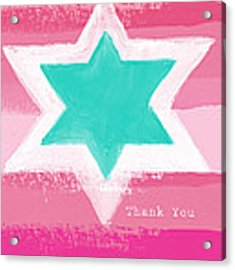 Bat Mitzvah Thank You Card Acrylic Print by Linda Woods