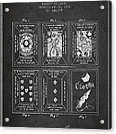 Billings Playing Cards Patent Drawing From 1873 - Dark Acrylic Print by Aged Pixel