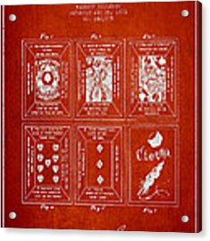 Billings Playing Cards Patent Drawing From 1873 - Red Acrylic Print by Aged Pixel