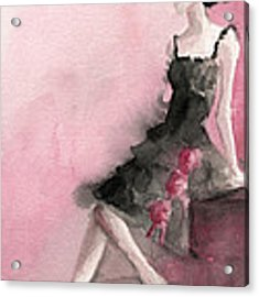 Black Ruffled Dress With Roses Fashion Illustration Art Print Acrylic Print by Beverly Brown