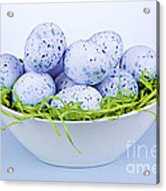 Blue Easter Eggs In Bowl Acrylic Print by Elena Elisseeva