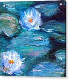 Blue Water Lilies Acrylic Print by Lauren Heller