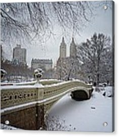 Bow Bridge Central Park In Winter  Acrylic Print by Vivienne Gucwa