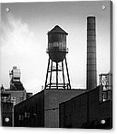 Brooklyn Water Tower And Smokestack - Black And White Industrial Chic Acrylic Print by Gary Heller