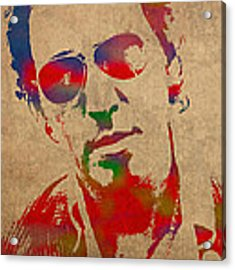 Bruce Springsteen Watercolor Portrait On Worn Distressed Canvas Acrylic Print