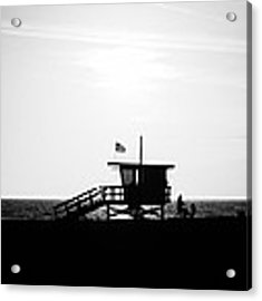 California Lifeguard Stand In Black And White Acrylic Print by Paul Velgos