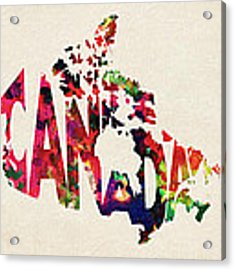 Canada Typographic Watercolor Map Acrylic Print by Inspirowl Design