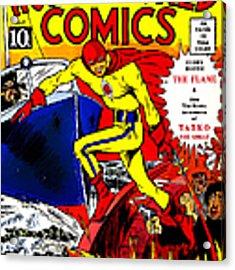 Classic Comic Book Cover - Wonderworld Comics The Flame - 1028 Acrylic Print
