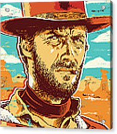 Clint Eastwood Pop Art Acrylic Print by Jim Zahniser