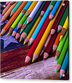 Colored Pencils On Wooden Flag Acrylic Print