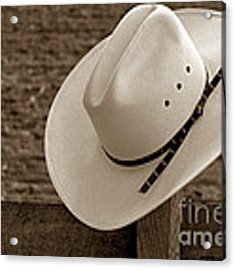 Cowboy Hat On Fence Acrylic Print by Olivier Le Queinec