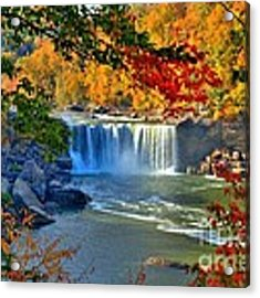 Cumberland Falls In Autumn 2 Acrylic Print by Mel Steinhauer