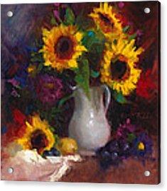 Dance With Me - Sunflower Still Life Acrylic Print by Talya Johnson