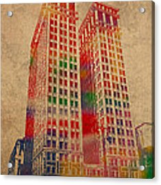 Dime Building Iconic Buildings Of Detroit Watercolor On Worn Canvas Series Number 1 Acrylic Print