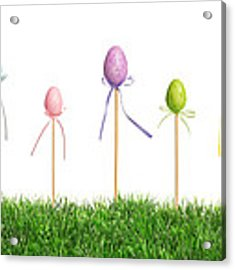 Easter Eggs In Grass Acrylic Print by Amanda Elwell