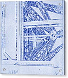 Eiffel Towers Steel Frame Blueprint Acrylic Print