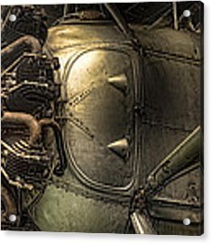 Radial Engine And Fuselage Detail - Radial Engine Aluminum Fuselage Vintage Aircraft Acrylic Print by Gary Heller