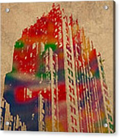 Fisher Building Iconic Buildings Of Detroit Watercolor On Worn Canvas Series Number 4 Acrylic Print