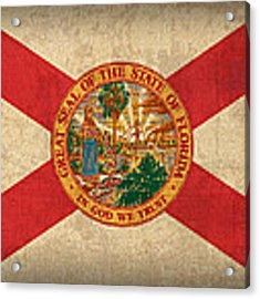 Florida State Flag Art On Worn Canvas Acrylic Print