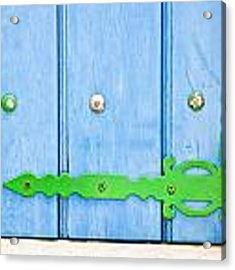 Green And Blue Shutter Acrylic Print by Tom Gowanlock