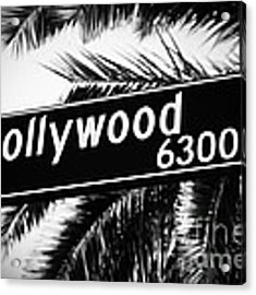 Hollywood Boulevard Street Sign In Black And White Acrylic Print