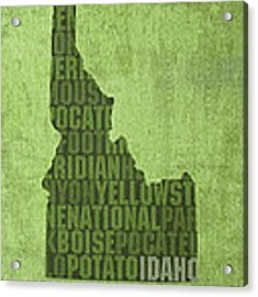 Idaho State Word Art Map On Canvas Acrylic Print