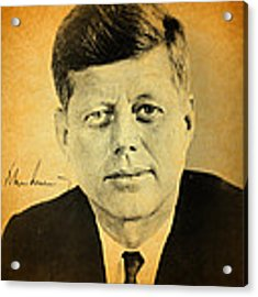 John F Kennedy Portrait And Signature Acrylic Print by Design Turnpike