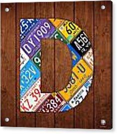 Letter D Alphabet Vintage License Plate Art Acrylic Print by Design Turnpike