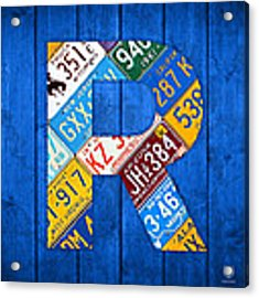 Letter R Alphabet Vintage License Plate Art Acrylic Print