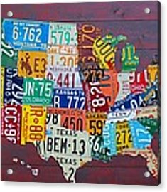 License Plate Map Of The United States Acrylic Print