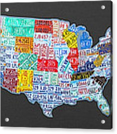 License Plate Map Of The Usa On Gray Acrylic Print by Design Turnpike