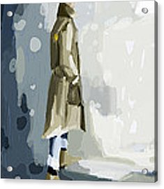 Man In A Trench Coat Fashion Illustration Art Print Acrylic Print by Beverly Brown